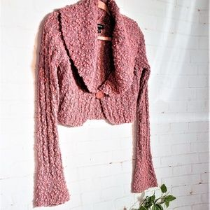 BEBE PINK GLITTERY SWEATER BELL SLEEVES LG